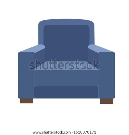 Blue sofa. Flat design icon vector illustration.