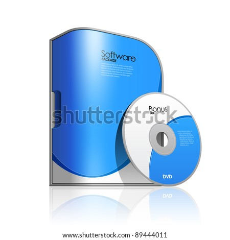 Blue software box with rounded corners stock vector Vector image software