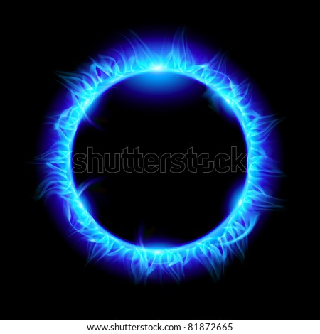 Blue Solar eclipse. Illustration on black background for design