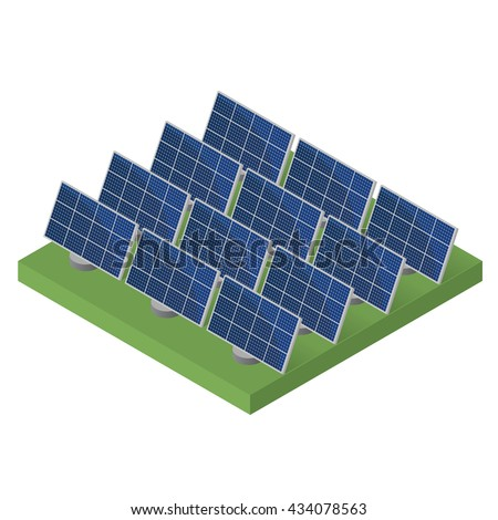 Blue Solar panels. Flat isometric. Modern alternative energy. The production of energy from the sun. Ecological energy. Vector illustration.