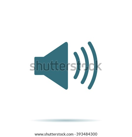 Blue Sound icon isolated on background. Modern simple flat music sign. Business, internet concept. Trendy vector mute mode symbol for website design, web button, mobile app. Logo illustration