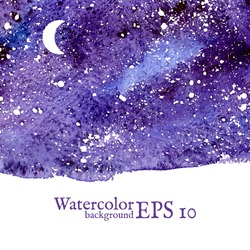Blue space background. Blue watercolor banner template. Painting. Vector illustration with empty space for your text