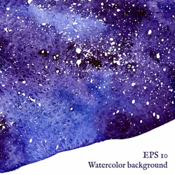 Blue space background. Watercolor banner template. Painting. Vector illustration with empty place for your text