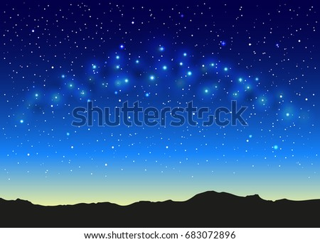 blue space landscape with milky