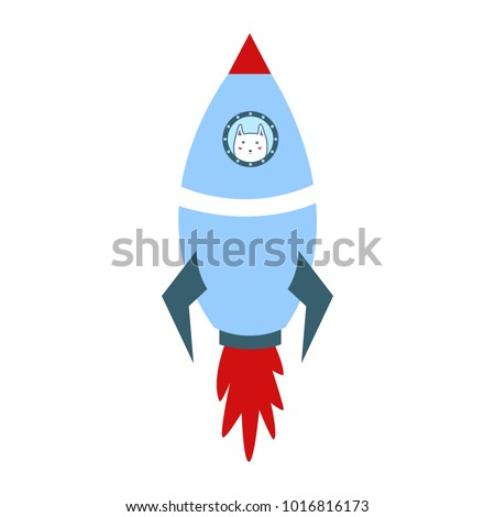 blue space ship with cute white