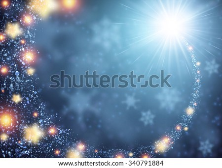 Blue sparkling background with stars. Vector illustration.