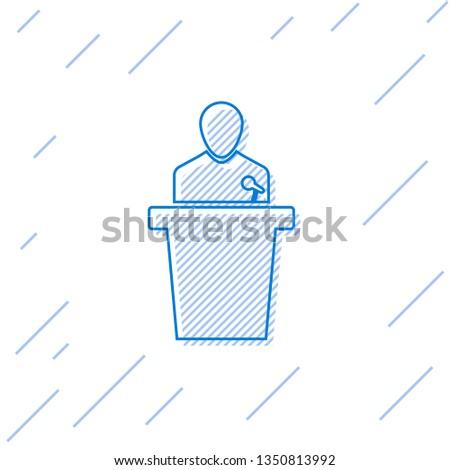 Blue Speaker line icon isolated on white background. Orator speaking from tribune. Public speech. Person on podium. Vector Illustration