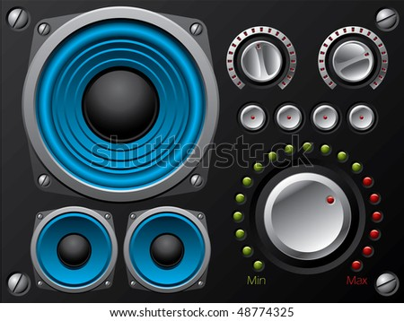 Blue speakers with amplifier and knobs