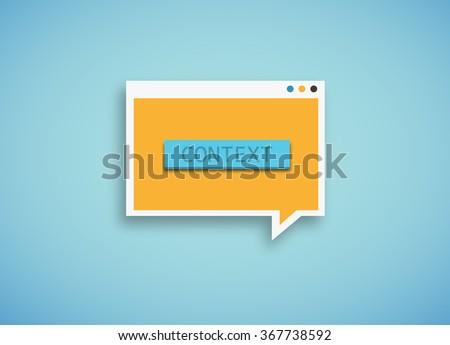 "blue speech bubble with the text ""context"". ""Context Marketing"" concept."