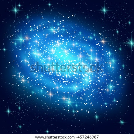 blue spiral galaxy with shining