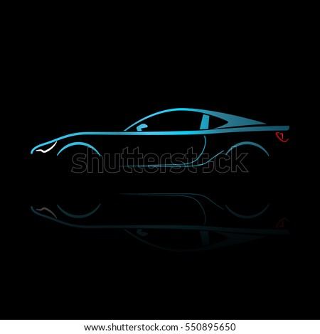 blue sport car silhouette with