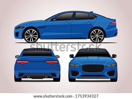 blue sport sedan  three way