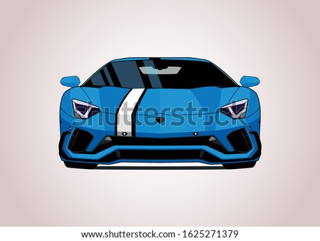 blue sports car  front view
