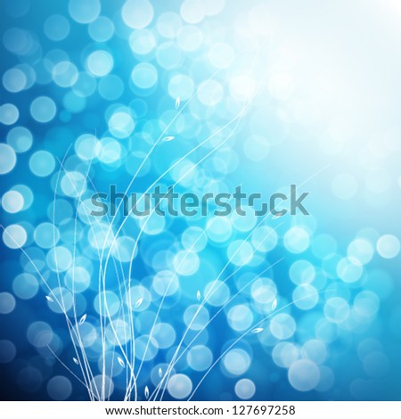 Blue spring abstract nature background.