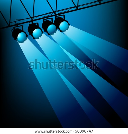 Blue stage lights illuminating an area. Vector.