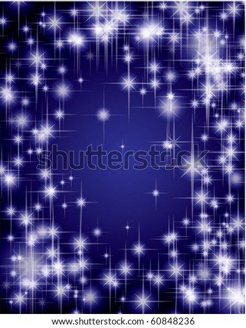 Blue star vector background.