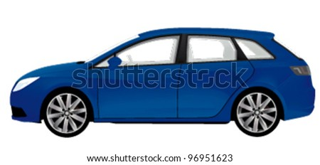 blue station wagon isolated on white