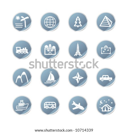 blue sticker travel icons