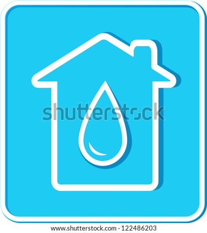 blue sticker with big water drop and house silhouette