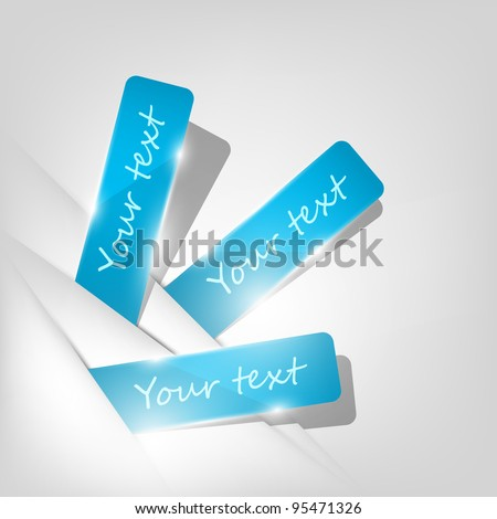 Blue stickers sticking out of the divider on paper background. Part of set. Vector art.