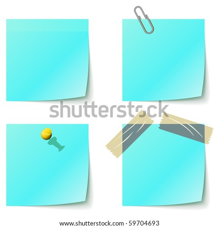 Blue sticky notice papers isolated on white. - stock vector