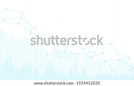 Blue stock market or financial chart with a declining trend. On a white background - vector