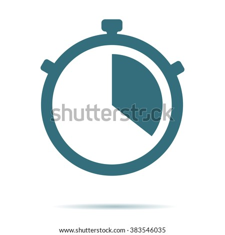 blue stop watch icon isolated