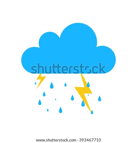Blue Storm rain icon isolated on background. Modern simple flat sign. Business, internet weather concept. Trendy nature vector lightning bolt symbol for web site design. Logo illustration.