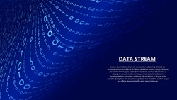 Blue stream of binary code. Digital flow of encoded data. Analysis blockchain transfer. Big data visualization. Vector matrix background. Coding and hacking.