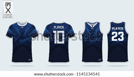 Blue stripe t-shirt sport template design for soccer jersey, football kit and tank top for basketball jersey. Sport uniform in front and back view. Sport shirt mock up for sport club. Vector.