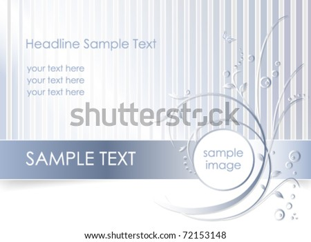 Blue striped floral greeting card - romantic flower background design - vector, eps10