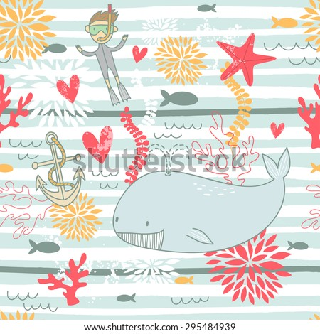 blue striped illustration with