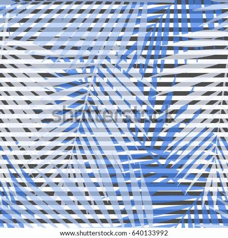 blue striped palm leaves