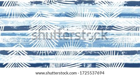 Blue stripes seamless pattern with palm leaf