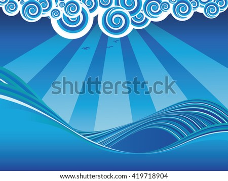 blue stylized sea or ocean with