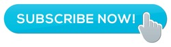 Blue Subscribe Now Button with Gray Hand Cursor, Vector Image