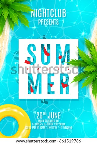 blue summer party flyer