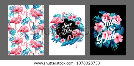 Blue summer tropical palm leaves with exotic flamingo and hibiscus flowers. Vector templates. Design element for card, poster, banner, and other use.