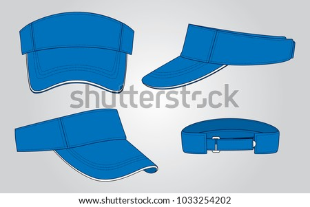 Shutterstock Blue sun visor cap for vector (Front,Back,Perspective and Back views)