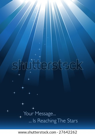 Blue sunburst on blue background with stars