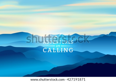 blue sunrise in the mountains