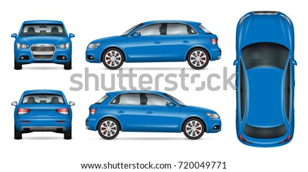 Blue SUV car vector mock up for car branding and advertising. Elements of corporate identity. All layers and groups well organized for easy editing and recolor. View from side, front, back and top.