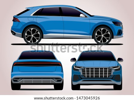 blue SUV. View from three sides. Audi Q8.
