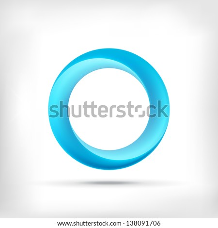 Stock Photo Blue swirl icon. Abstract glossy blue circle logo icon. Infinite sign.