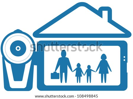 blue symbol home video with family and video camera silhouette