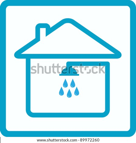 blue symbol of bathroom with shower in house