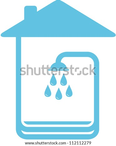 blue symbol with home and shower silhouette