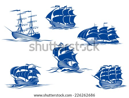 blue tall ships or sailing