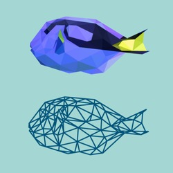 BLUE TANG FISH SEA POLYGONAL LOW POLY GEOMETRIC TRIANGLE