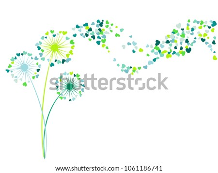 Blue teal green vector dandelion herbs, meadow flowers illustration. Floral romantic background with dandelion blowing plant. Flowers with heart shaped feather flying. Meadow blossom.